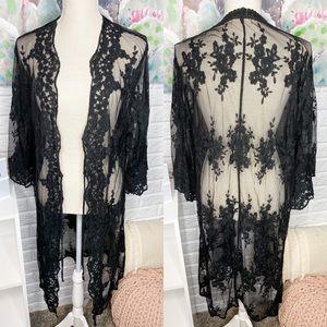 Dreamers Black Lace Kimono Duster Cardigan M/L